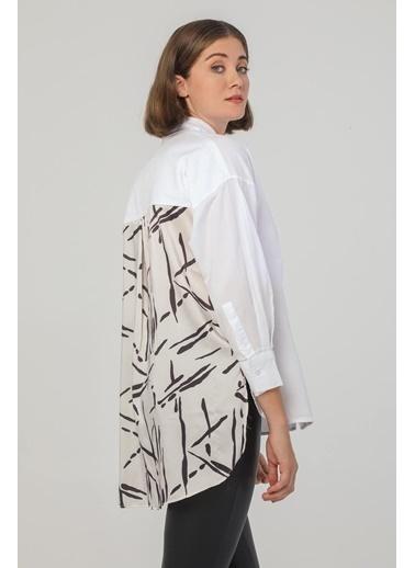 Modaset Arkası Desen Detaylı Gömlek Beyaz Beyaz